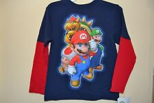 SUPER MARIO (4) CHARACTERS-BOYS SIZE 7-LICENSED LONG SLEEVE-NWT-NAVY