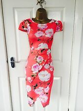 Coral Rose Floral Evening Peplum Midi Pencil Bodycon Stretch Summer Party Dress