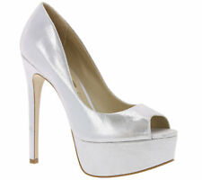 Buffalo Real Leather Shoes Platform Peep Toe Metallic Heel Ladies Silver