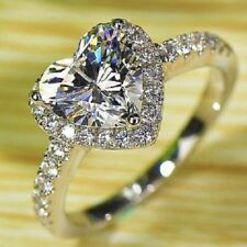 New GİFT Real 925 STERLING Silver Ladies Heart Cut Wedding Engagement Ring