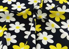 Daisy Flower Design Printed Black Crafts Scrap Sewing Cloth Quilt Cotton Fabric