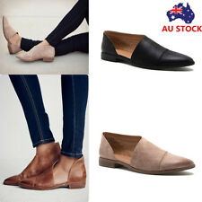 Women's Pointed Toe Leather Flat Hollow Sandals Slip On Loafers Moccasins Shoes