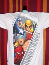 Marvel Heroes SHIRT Spiderman Thor Wolverine Captain America WHITE Gallery NWT