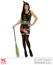 Womens Ladies Sequin Witch Cauldron Fancy Dress Costume Halloween Outfit Adult