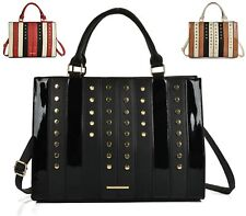 LADIES FAUX LEATHER STUDDED PATCHWORK TOTE ZIPS FASHION SATCHEL SHOULDER HANDBAG