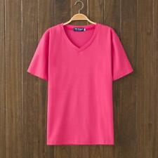 Hot Sale candy hot pink pink V- Neck Short Sleeve Cotton Casual T-Shirt