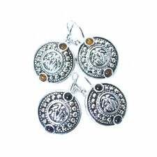 JOSEPH ESPOSITO, SILVER LEVER BACK EMBOSSED EARRING WITH CABOCHON ACCENT