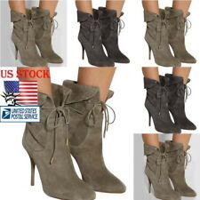 US Womens Suede Pointy Toe Ankle Stiletto Boots High Heels Lace Up Shoes Booties
