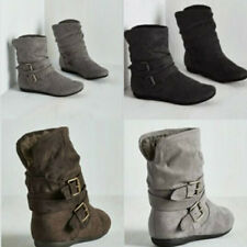 Womens Fur Lined Boots Low Chunky Flat Heel Buckle Suede Casual Boots Shoes Size