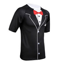 Short Sleeves Tuxedo Formal Suit Wedding Party Stretchy Funny Men's Top T-Shirt
