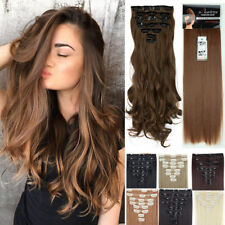 Real Thick 8Pcs 18Clips Clip in Full Head Hair Extensions As Remy Human Hair F56