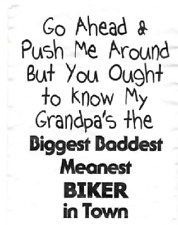 grandpa baddest biker t shirt kid one piece baby shower gift motorcycle US sz ne