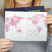 Pink Map Passport Case Custom Design Cover Woman Passport Holder Travel Leather