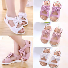 Summer Kids Girls Bowknot Sandals PU Leather Flat Shoes Casual  Pricness Shoes