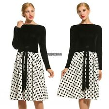 New Women Elegant Polka Dot Vintage Style Patchwork Pleated Dress RLWH01