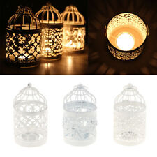 Metal Iron Cage Tealight Candlestick Candle Holder Hurricane Lantern Lamp White