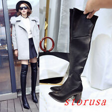 Vogue Women Black High Chunky Heel Over Knee High Boots Silm Leg Strench Boots