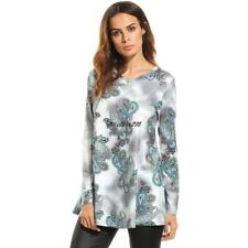 Women Casual V-Neck Long Sleeve Print Loose Fit Blouse Tunic Tops LKR8 01