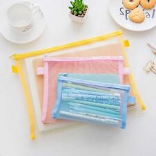 Clear Exam Pencil Case Transparent Mesh Zipper Stationery Make Up Bag Pouch New