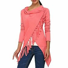 Leezeshaw Women Casual Long Sleeve Asymmetric Tassel Hem Front Cardigan Sweater