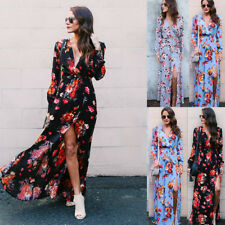 Boho Womens Floral  V Neck Sexy Long Dresses Split Party Evening Maxi Dress S-XL