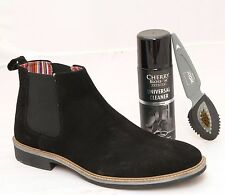 Mens Black Suede Ankle Boots With Cleaner and Brush Size UK 6 7 8 9 10 11 12