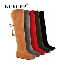 Hot Quality Womens Boots Faux Suede Over the Knee Flat Warm Boots Comfortable