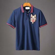 New Brand Men's Slim Fit Puppy Embroidery Pattern cotton Polo T-shirt Size S~XL