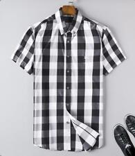 Fashion Men'sBlack and white patterned shirt Short Sleeve Casual Button T-Shirt