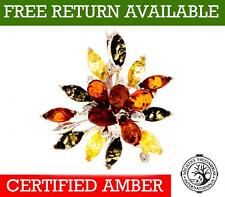 Unusual Multi Stone Natural Baltic Amber 925 Sterling Silver Pendant 211