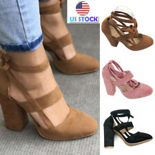 Women Block High Heel Ankle Boots Open Toe Prom Party Sandals Bandage Shoes Size