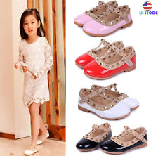 Cute Kids Girl Toddler Sandals Rivet Buckle T-strap Princess Party Flat Shoes US