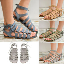 Summer Women Roma Gladiator Lace Up Sandals Flat Ankle Strap Beach Shoes Size