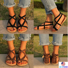 Womens Ankle Strap Flops Flat Shoes Strappy Toe Summer Beach Sandals US Size 5-9