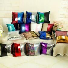 Mermaid Reversible Pillow Sequin Cover Glitter Sofa Cushion Case Double Color 37