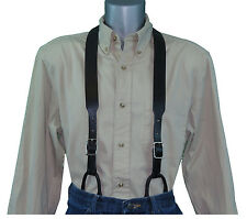 Black Plain Leather Suspenders with Button Connectors noslipsuspenders