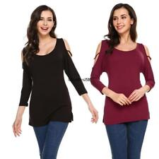 Women Fashion O-Neck 3/4 Sleeve Solid Loose Hollow Out Shoulder Tops LKR8