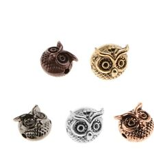 2mm Hole Metal Owl Spacer Beads Charm Bracelet Finding Jewelry Craft DIY 10x