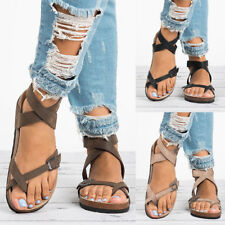 Womens Strap Buckle Summer Beach Open Toe Sandals Flat Flip Flop Cork Shoes Size