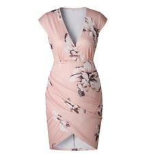 Women Package Hips V Neck Floral Print High Waist Cap Sleeve High Low Hem Dress