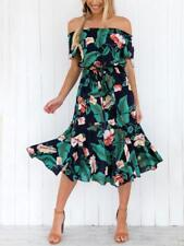 Women's Flowy Floral Off Shoulder Elastic Waist Short Sleeve Ruffle Midi Dress
