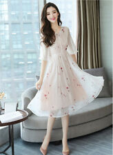 Women's Floral Print Tie-Bow O Neck Half Sleeve Tunic A-Line Swing Midi Dress