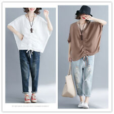 Women's V Neck Batwing Sleeve Ruched Tie Hem Baggy Fit Solid Shirt Top Blouse