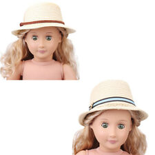 2 Style Summer Straw Hats Fit 43cm Doll and 18 inch American Girl QC
