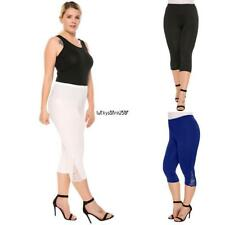 Women Casual Lace Solid Natural Elastic Waist Cropped Pants LKR8