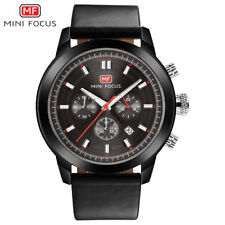 MINI FOCUS Sports Watches Men's Quartz Chronograph Leather Strap Military Watch