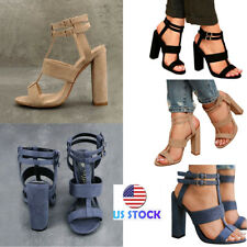 Women Ankle Straps Peep Toe Sandals High Buckle Block High Heels Career Shoes US