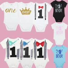 Baby Boys Girl My 1st First Birthday Romper Cotton Party Bodysuit Clothes Outfit