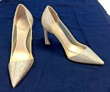 CHRISTIAN DIOR HIGH HEELED RHINESTONE SHOES, CHAMPAGNE PINK, SIZE 35D