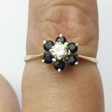 VINTAGE SOLID 9ct GOLD SAPPHIRE FLOWER CLUSTER SET LADIES RING SIZE S